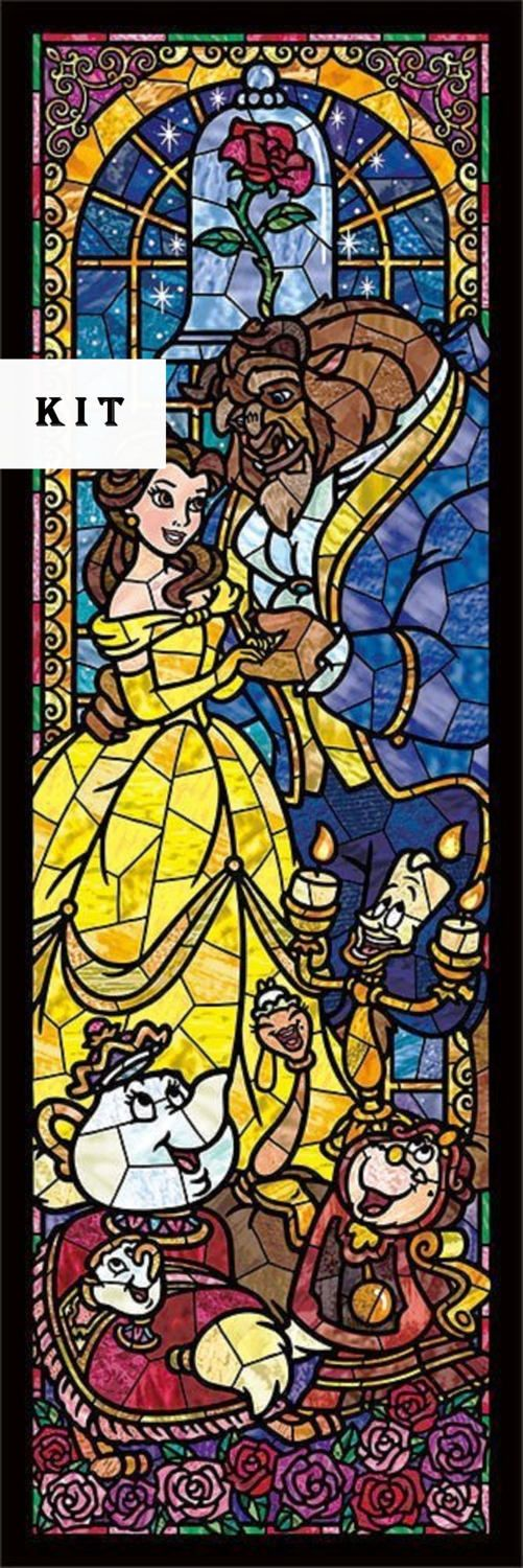 Beauty and the Beast Stained Glass Disney Cross Stitch KIT by icrossstitchpattern on Etsy