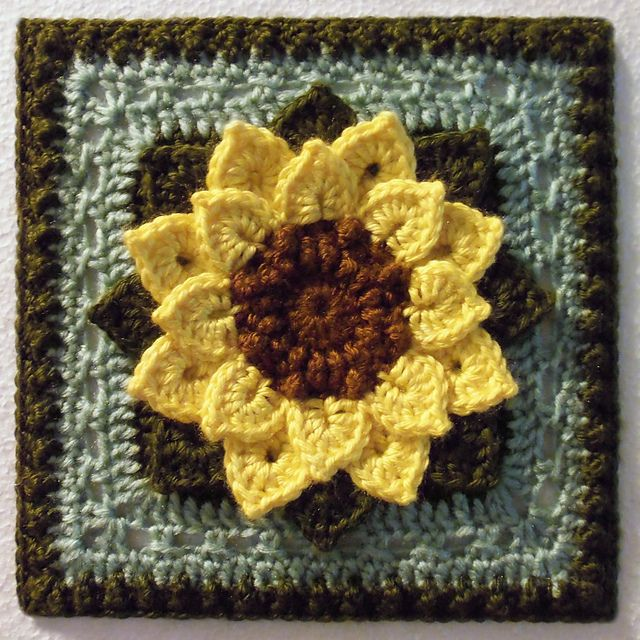 free pattern on Ravelry: Crocodile Stitch Afghan Block - Dahlia pattern by Joyce Lewis - would make a lovely sunflower afghan