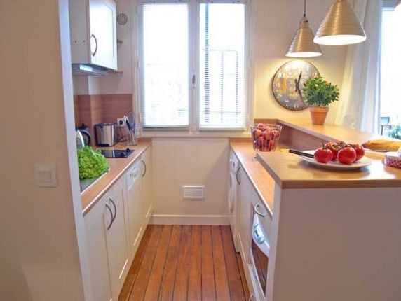 Efficiency apartment kitchens fully equipped paris for Small studio apartment kitchen ideas