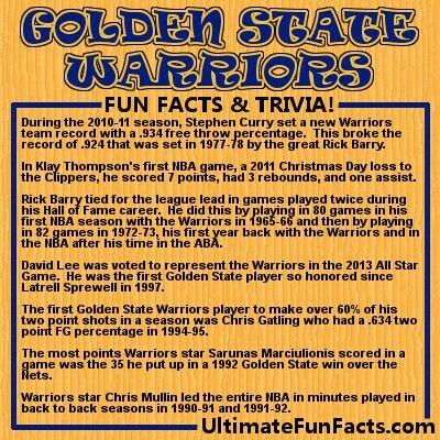 #GoldenStateWarriors #Warriors #GSW #NBA #basketball #trivia #FunFacts #Infographic #UltimateFunFacts