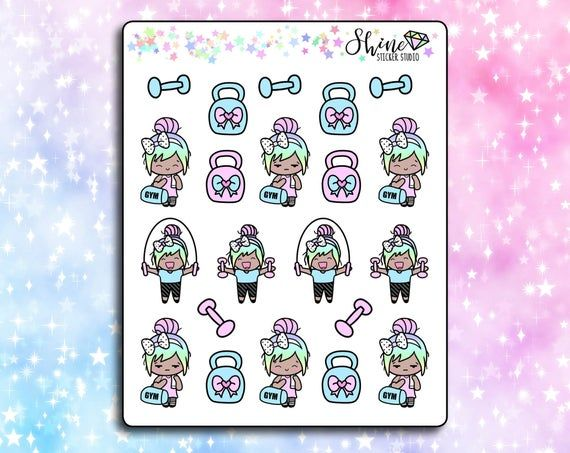 Luna Fitness- Planner Stickers Erin Condren Life Planner Character Girl Workout Stickers Travelers N