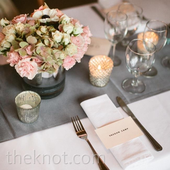 Gray and Pink Table Setting - like the little votives