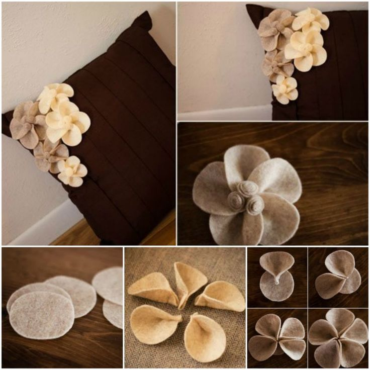 How to DIY Pretty Felt Flower Pin for Pillow | www.FabArtDIY.com LIKE Us on Facebook ==> https://www.facebook.com/FabArtDIY