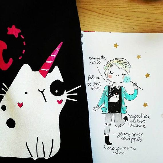 Illustrated sweat shirt Be unicorn di violinoviola su Etsy