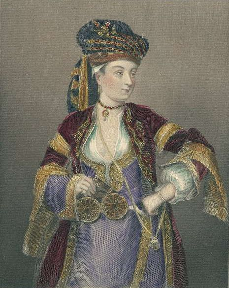 Lady Mary Wortley Montagu, the wife of the English ambassador to Turkey, spent two years in Turkey in the early 1700's. During her stay she wrote many letters decribing the clothing and habits of Turkish women - including a form of innoculation against small pox. In the center, a European painter portrays her in Ottoman dress in 1718.