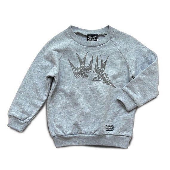 Sweat-shirt, haut, unisexe, gris chiné, enfant, imprimé Bluebird, UNDER MY SKIN, sérigraphie à la main, 4 et 6 ans, American Apparel