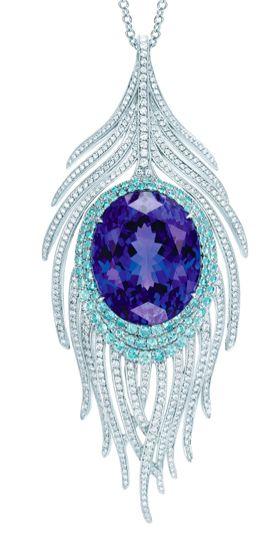 Tiffany & Co., Peacock Pendant with oval tanzanite, cuprian elbaite tourmalines and diamonds - beautiful !!!