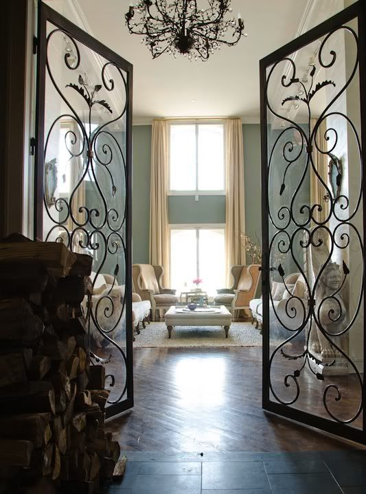 welcome to the parlor: The Doors, Interiors Doors, Wrought Irons Doors, Living Rooms, French Doors, Wall Color, Wroughtiron, Glasses Doors, Irons Gates