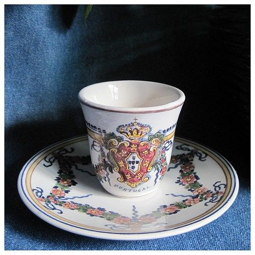 Vintage Outeiro Agueda Hand Painted Portugal Cup and Saucer