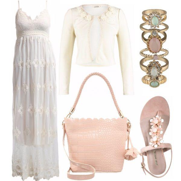 Una serata di fine agosto: indossiamo sopra questo abito romanticissimo un cardigan vaniglia.   Avrei pensato anche a dei sandali gioiello. E poi possiamo scegliere tra gli anelli: cipria, verde acqua oppure uno semplice semplice. A voi la scelta.