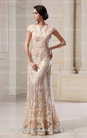 Scoop Appliqued A-line Floor Length Champagne Wedding Dress