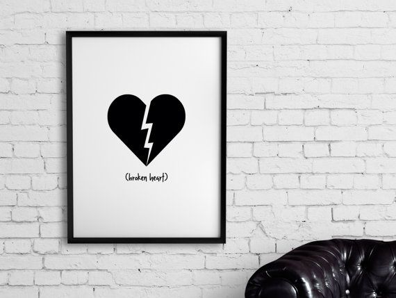 Broken Heart  Emoji Series  Printable Poster by Despertarium  #poster #printable #frame #decor #room #black and white #emoji #emoticon #icon #heart #broken #heartbreak #brokenheart