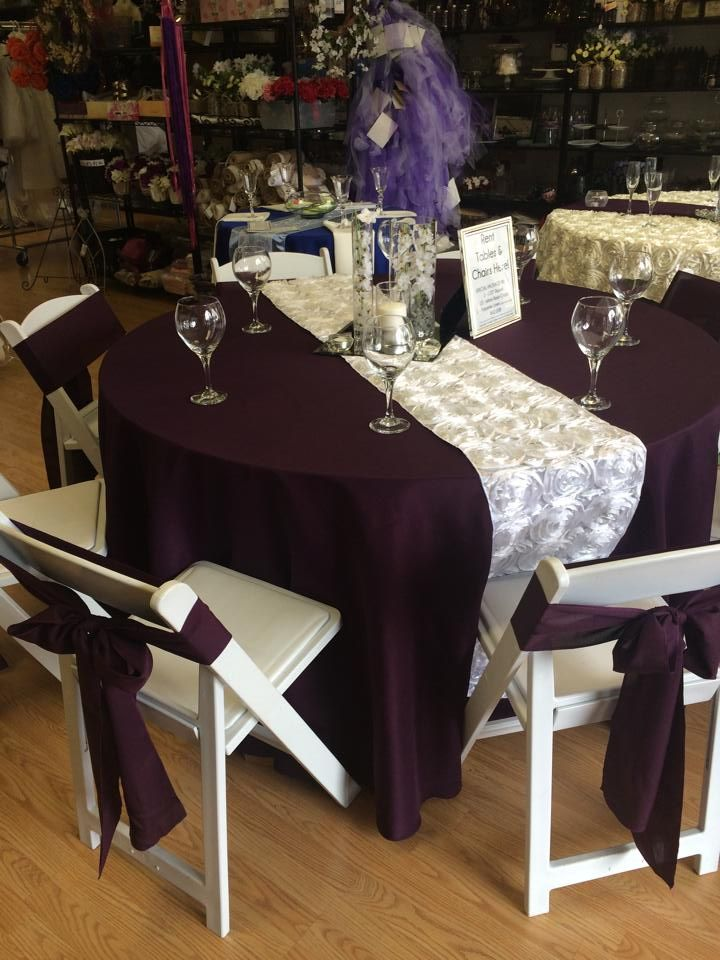 Table set up ideas - purple with white runner.