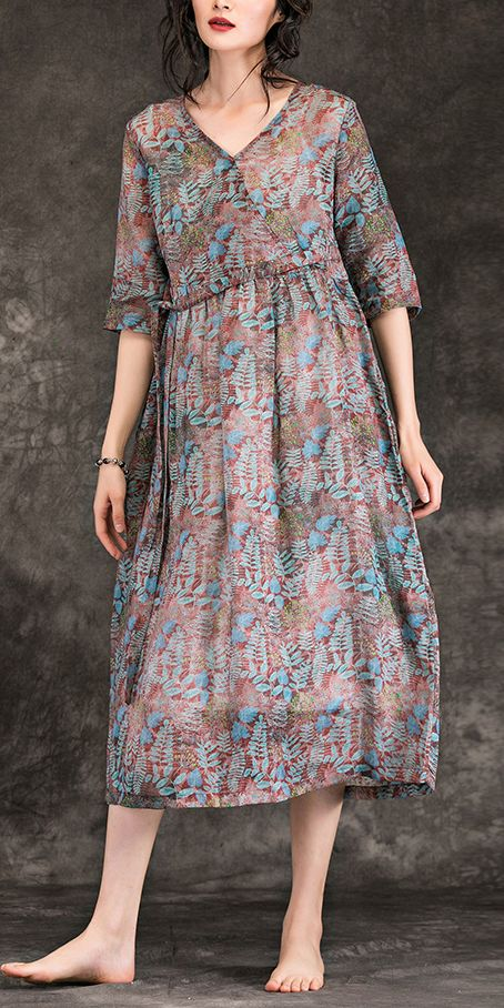 c5c72436d1 Women floral linen dresses Plus Size Shirts v neck Three Quarter sleeve  Maxi Summer Dress