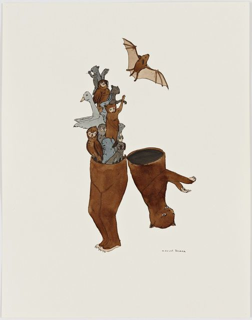 Untitled, 2001, by Marcel Dzama | Often compared to outsider artist Henry Darger, Marcel Dzama's small ink and watercolor drawings of hybrid characters, like humans with antlers or trees with hands, resemble story illustrations.
