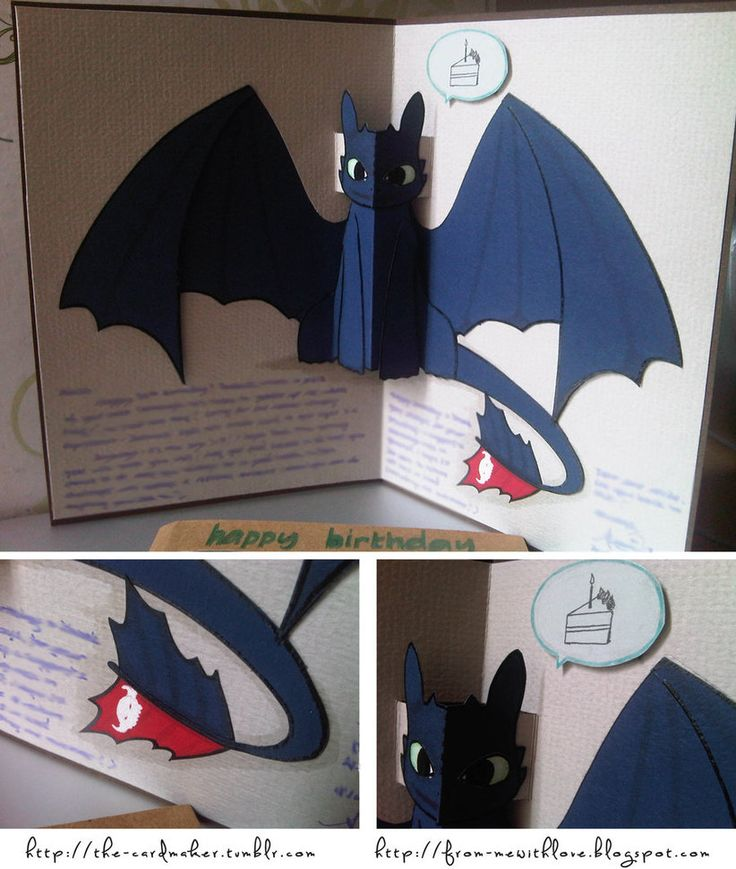 This one took me a long time to figure out. (Needs to put some effort in to researching paper engineering and pop-up cards) Somehow I never get Toothless' expressions right! Made using a lot of car...