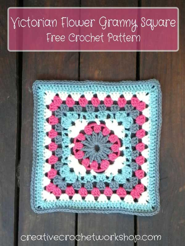 This Victorian Flower Granny Square is the 19th Afghan Block in the Crochet A Block Afghan 2017 Crochet Along! Free Crochet Pattern.
