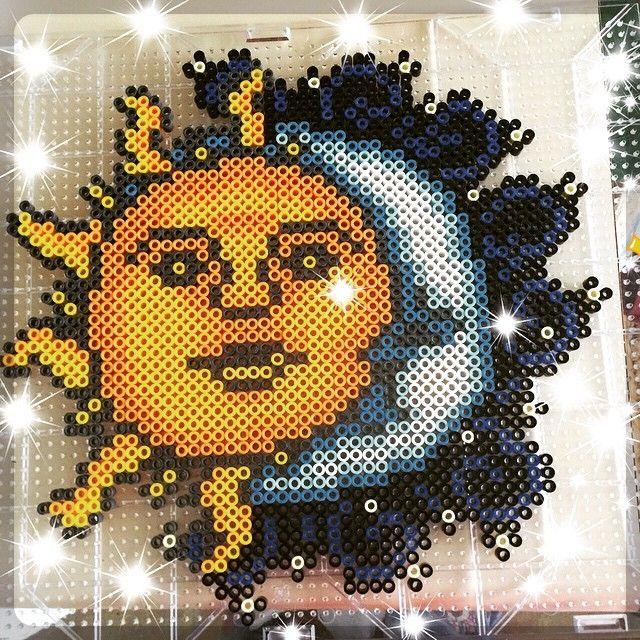 Sun and Moon perler beads by mcsiljamaki