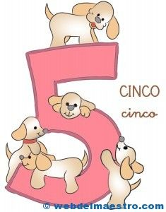 Fichas de números para niños. Número cinco, 5.