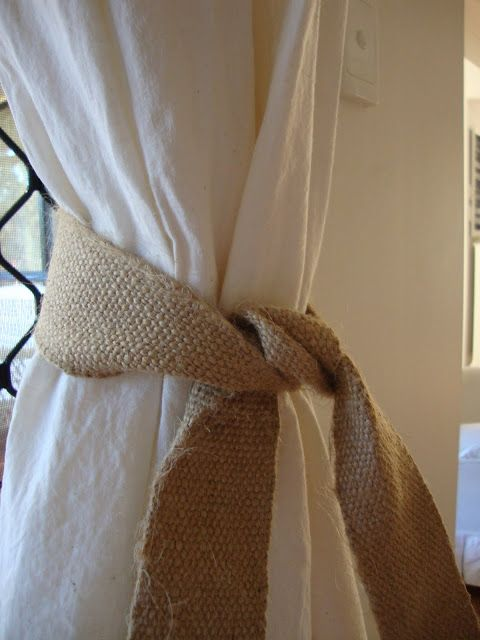 White flowy drapes with burlap tie backs....coastal beachy perfection for a beach house