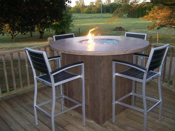 Tan Outdoor High Top Concrete Fire Table Fire Pit Concrete Fire