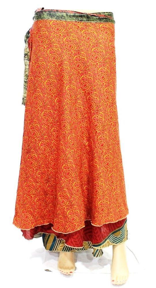 Silk Sari Fabric Skirt Magic Wrap Skirt Multi Layer Skirt Tube Dress Woman Wear  #Handmade #WrapSarong #CasualDancingBeachwearPartyWear