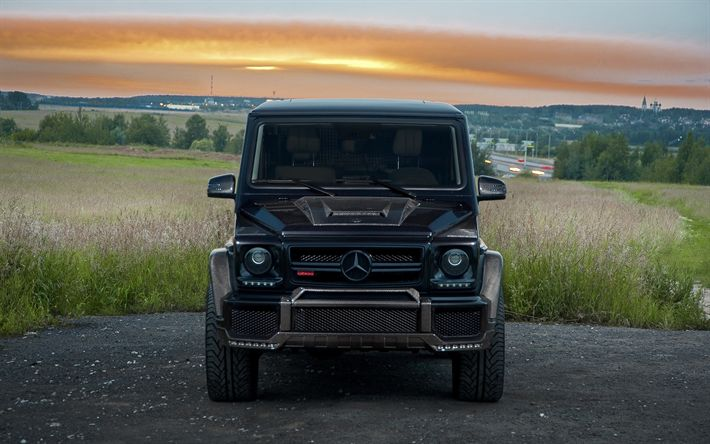 Download wallpapers Mercedes-Benz G500, tuning, luxury cars, 2018 cars, G-Class, Markus Wendler, SUVs, new G-Class, black Gelendvagen, Mercedes-Benz G-Class, german cars, Mercedes, Gelendvagen