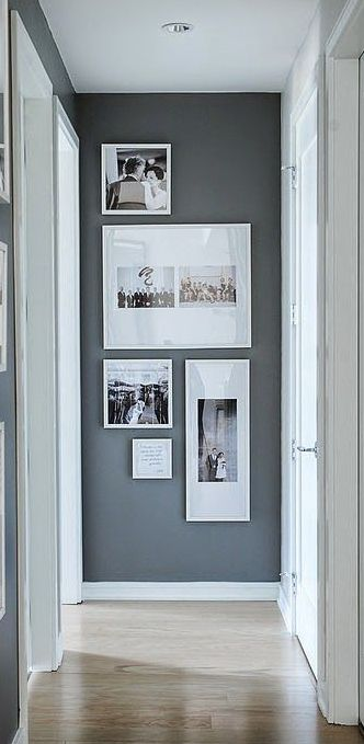 Arrangement leads your eye to end of hall and utilizes a normally blank space. #upstairshallwayideas