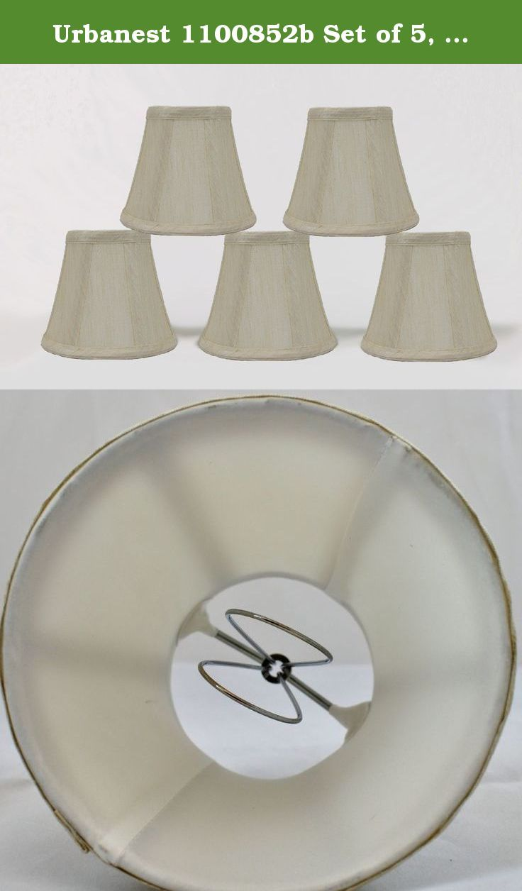 Urbanest 1100852b Set of 5, Cream Chandelier Mini Lamp Shades 5-inch, Bell, Clip On. Urbanest handmade 6-Inch natural burlap chandelier shades instantly update your home decor. You can use them for your chandeliers, wall sconces or small accent lamps. The rolled edge shades add French country, high country and natuar to your home.