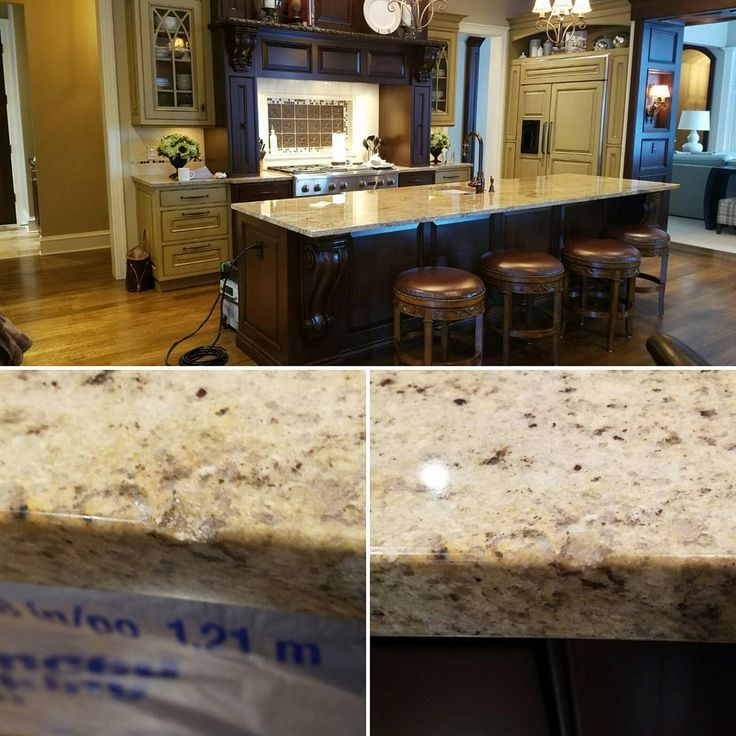 Superior Granite Repairs Today; Chips Fixed, Grind U0026 Polish And Sealer Applied. # Granite #granitecountertops #kitchen #countertop #countertoprepair #sealer  ...