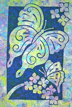 Butterflies 2 Fabric Applique Pacific Rim Quilt Pattern #PacificRimQuiltCompany #TwoFabricApplique