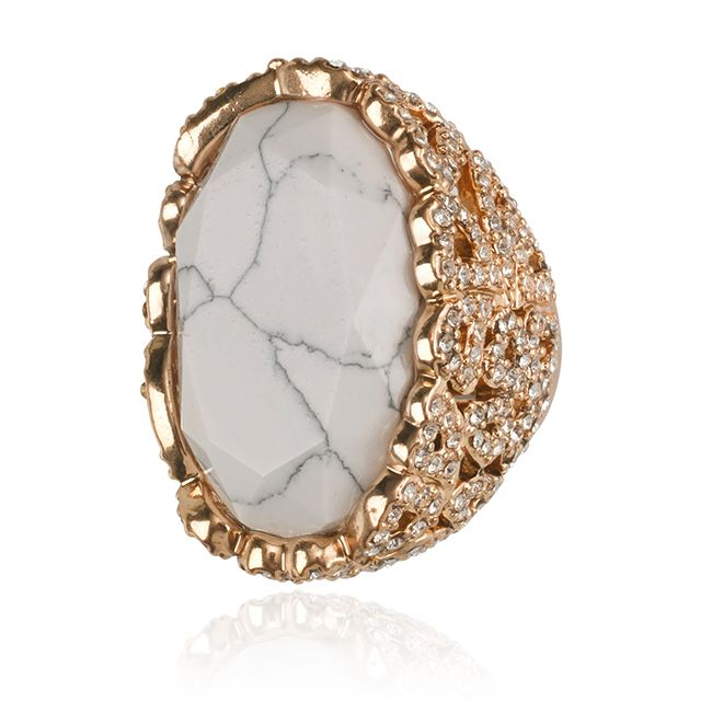 SAMANTHA WILLS - SAFARI NIGHTS RING - WHITE HOWLITE
