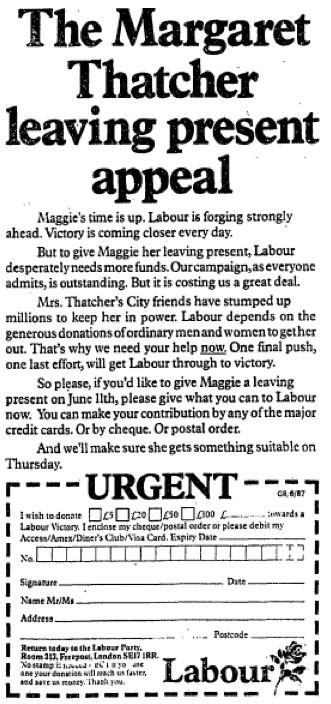 Labour Party. 8 June, 1987