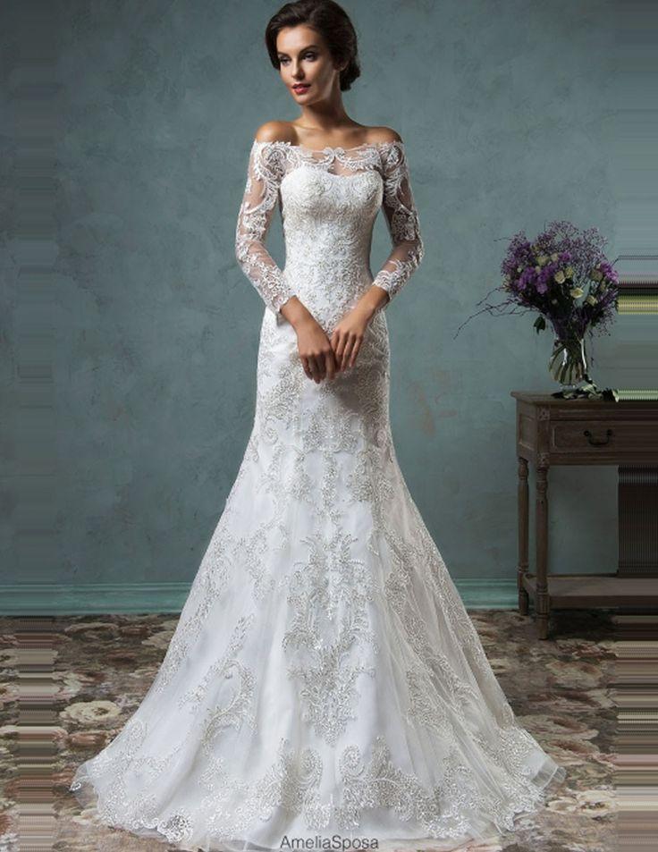 Custom Made Modest Detachable Skirt Amelia Sposa Wedding Dresses Off Shoulder Long Sleeve Mermaid Bridal Gowns casamento