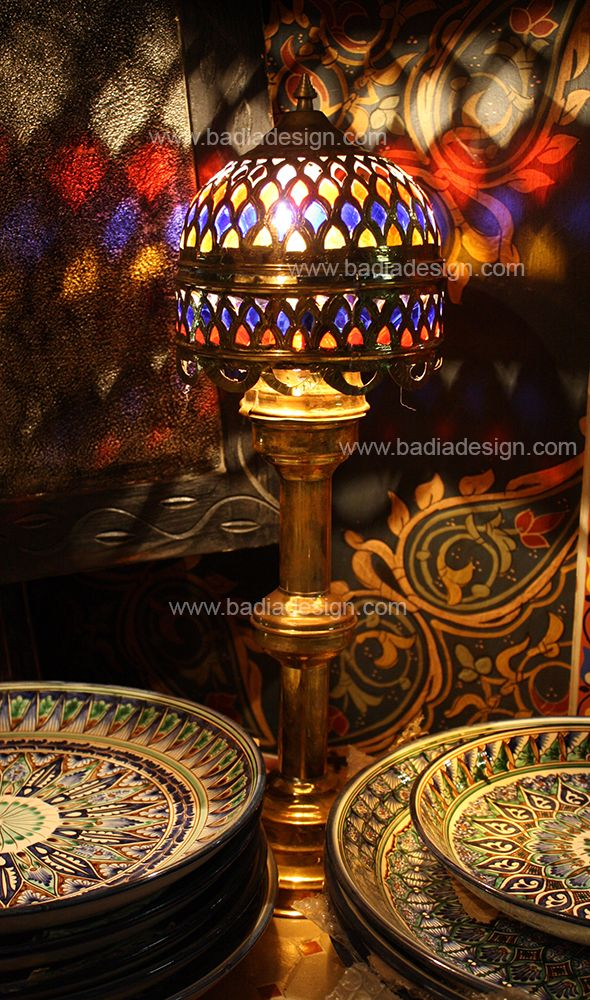 Moroccan Brass Lantern Glass Table Lamp
