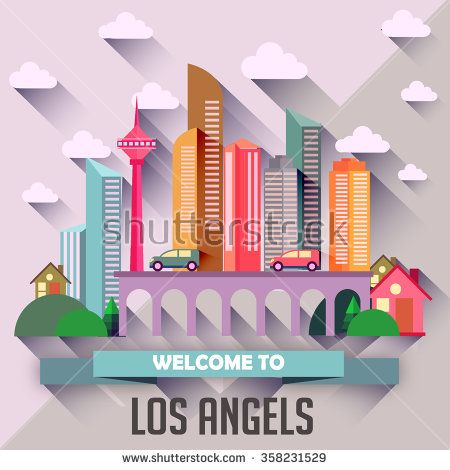 Los Angels - Flat design city vector illustration - stock vector