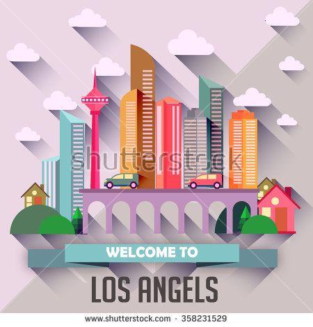 Los Angels - Flat design city vector illustration - stock vector