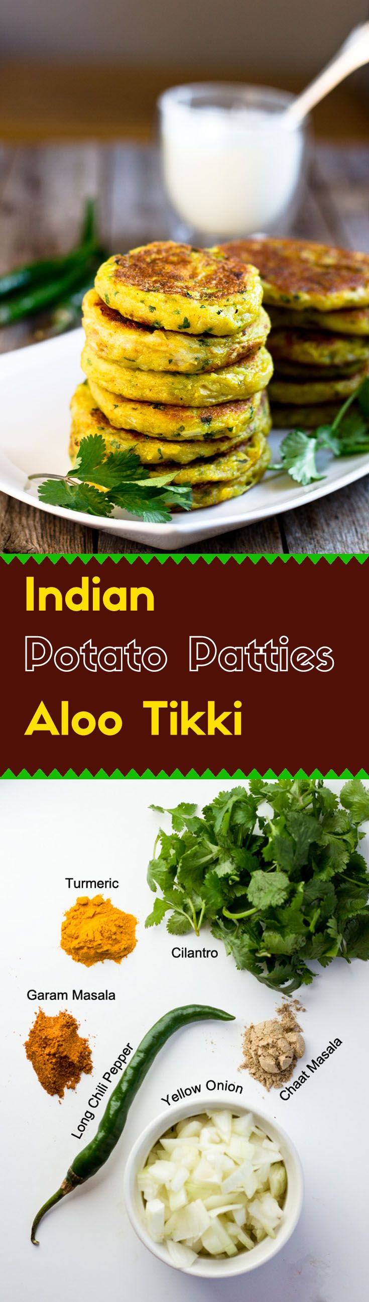 These Indian potato patties are rich in flavor and have complex textures. The addition of yellow onion and cilantro give the Aloo Tikkis a refreshing taste.
