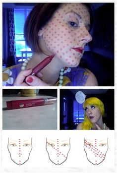 DIY: Pop Art Pixilated Dots #halloween #costume  Because that lip pen is meant for your face dots.