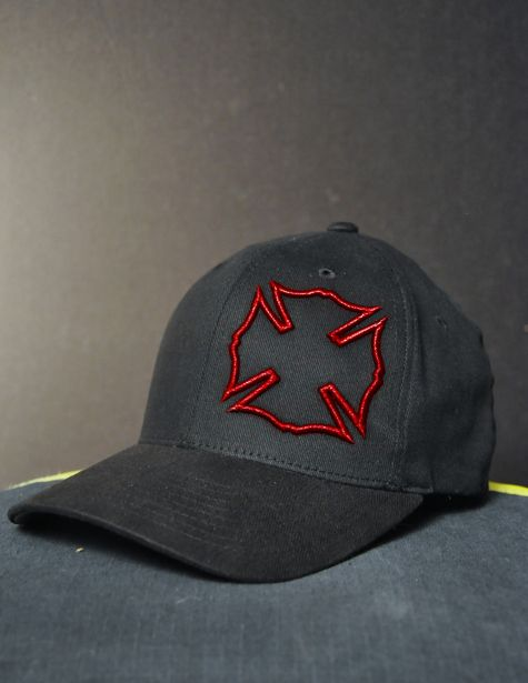Red Maltese Firefighter Hat - Black Helmet Firefighter Shirts, Hats, Decals and Accessories