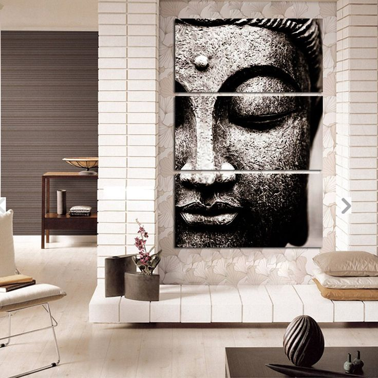 BANMU Frameless Gray 3 Panel Modern Large Oil Style Buddha Wall Art Print  On Canvas Home Living Room Decorations Wall Art Part 70