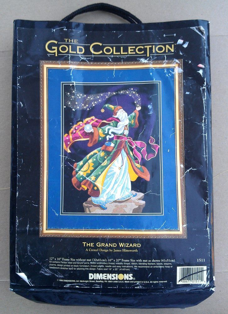 The Grand Wizard Dimensions Gold Crewel Embroidery Kit Part.Complete 12x16 Magic #Dimensions