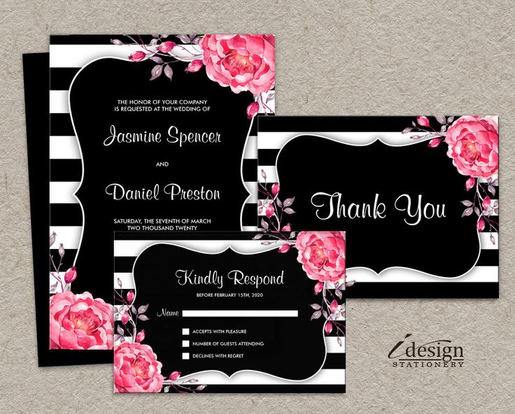 Elegant Wedding Invitation Sets With Floral Black And White Stripe Design  And Pink Watercolor Peonies By