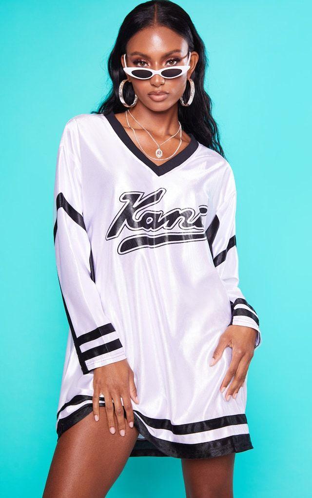 0b2200f15d9601 KARL KANI White Baseball Dress