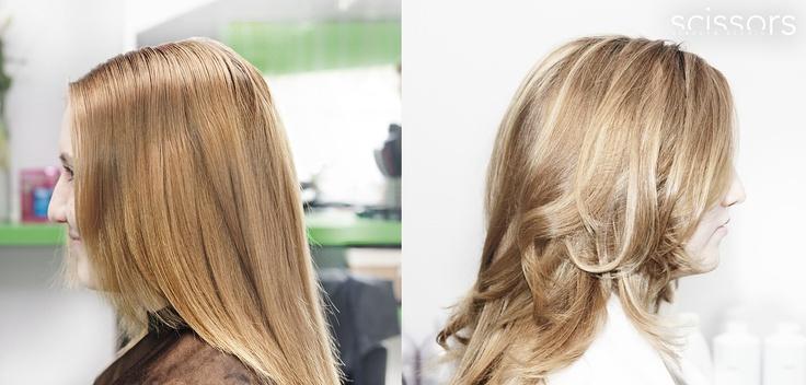 Modelka Míša.  Účes vlasové studio Scissors.  Použita jarní kolekce L'Oréal Professionel - Ombres nature.