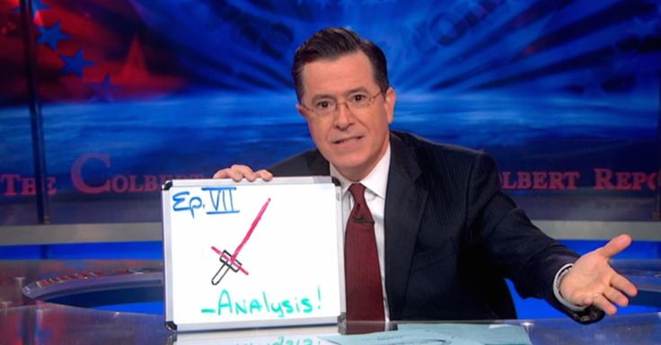 Stephen Colbert on the new star wars lightsaber. I love his analysis! It makes perfect sense to me! :)