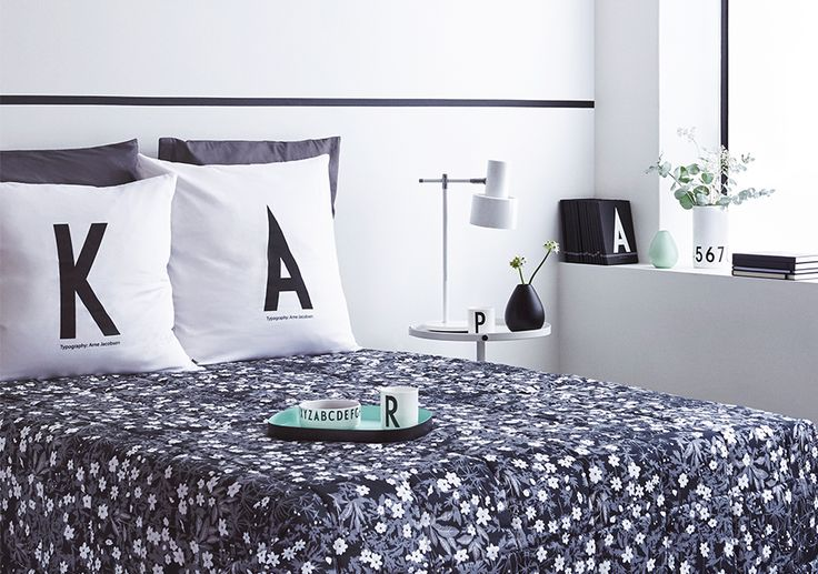 Make your bedroom personal! Flowers by Arne Jacobsen Bed cover. AJ Vintage ABC personal Pillowcases.