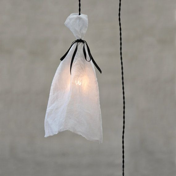 Mood Light with linen chandelier Mobile Hanging by MadameLampiere