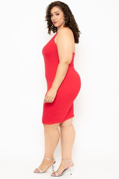 a291386581a Plus Size One Sleeve Asymmetric Dress- Red