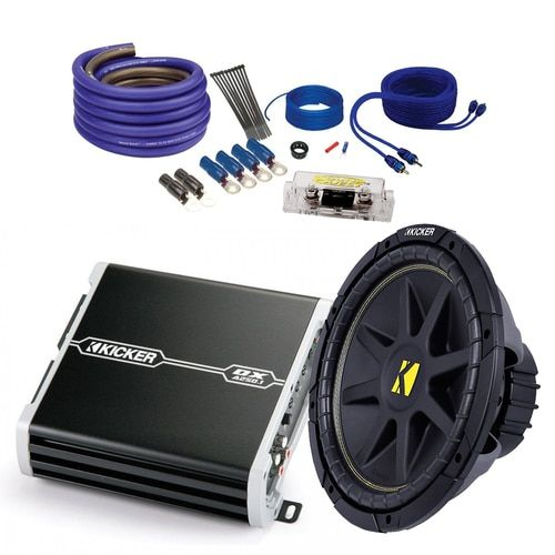 Kicker Car Audio Bundle 10C102D4 Sub + 41DXA250 Amplifier and SQ600H Wire Kit